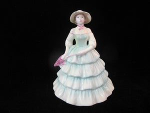 COALPORT Vintage Lady in Green w/Hat ROSAMUND Bone China Female Figurine Statue