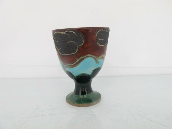 Tiny JAPANESE Studio Pottery Goblet With CLOUDS & Mountain Nature Scene