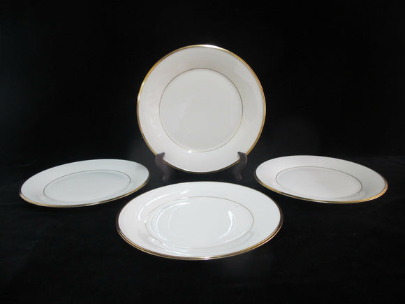 LENOX Ecru China Gold Rim ETERNAL Set of 4 Dinner Plates 10 3/4