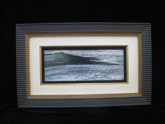 Framed CHINESE Natural DREAM STONE Nature Art - Ocean Sea Scape