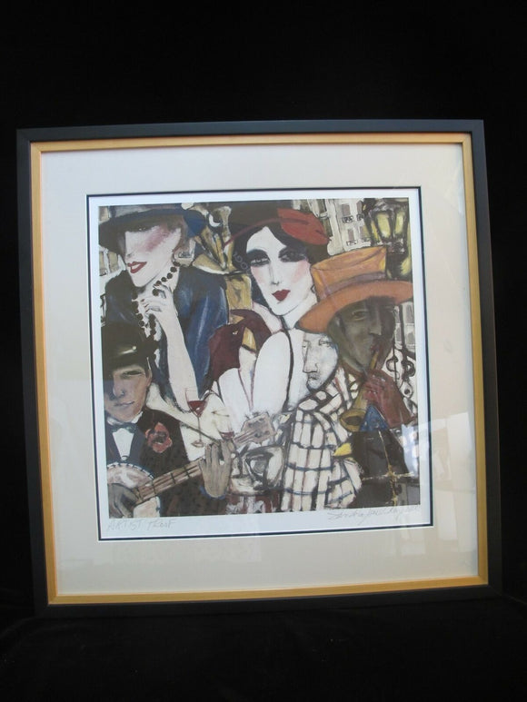 SANDRA Jones CAMPBELL Signed Framed Artist Proof Print Figural Music Club Scene