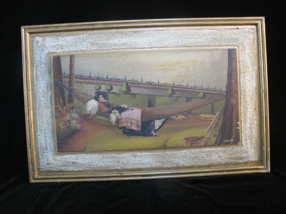 Signed CAL Framed Oil Painting of ITALIAN Scene Artist Relaxing in Hammock