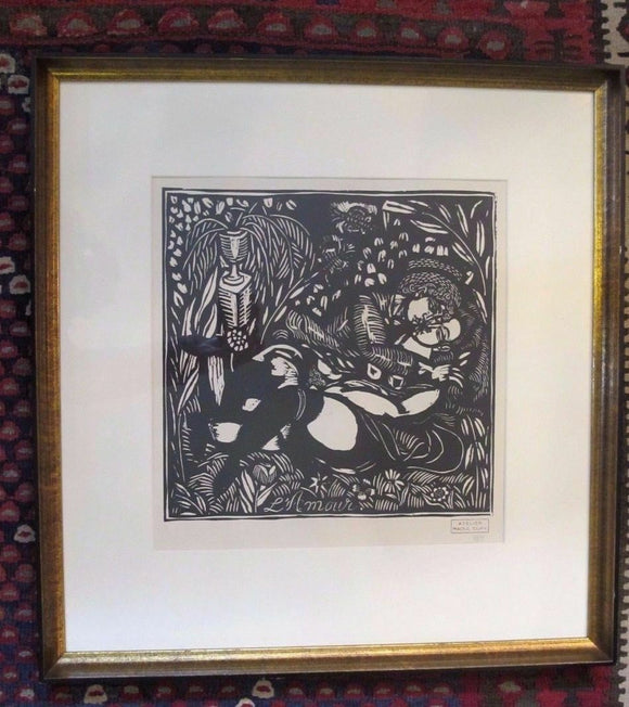 Raoul DUFY Stamped & Numbered PLEASURES of PEACE Lovers Framed Woodcut