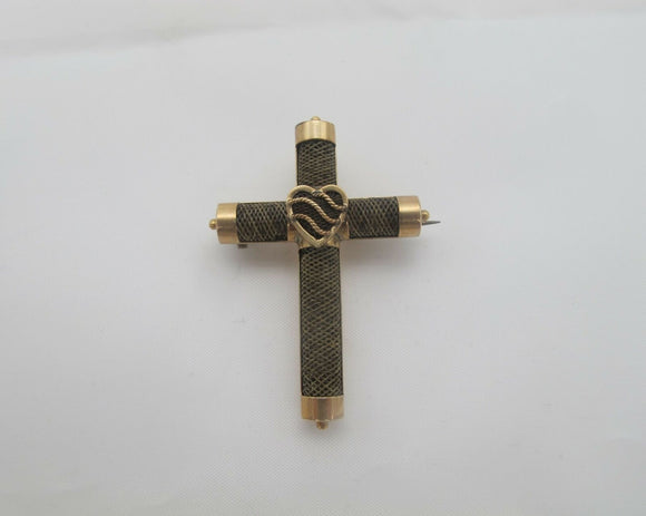 VICTORIAN 14k Rose Gold MOURNING Cross Brooch Pin With Heart