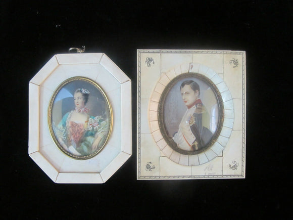 Antique Miniature Hand Painted PORTRAIT Pair of NAPOLEON & JOSEPHINE
