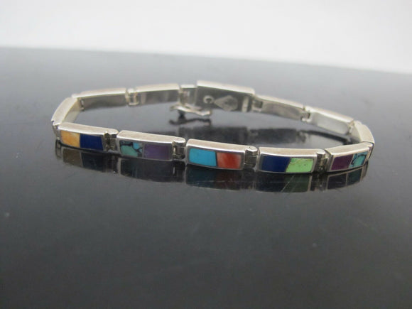 NATIVE AMERICAN Colorful MULTI-STONE Turquoise Sterling Link Bracelet Signed SSC