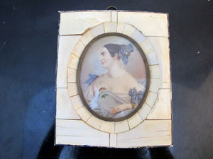 Antique Miniature Hand Painted Framed PORTRAIT of Distinguished Woman in Blue