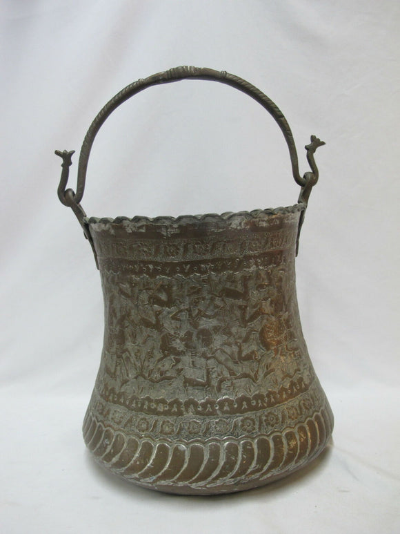 Intricate Hand Hammered Heavy COPPER Persian Bucket PAIL with Handle
