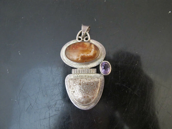 Vintage NATIVE AMERICAN Sterling Silver Amethyst Amber Chunky Pendant PENA