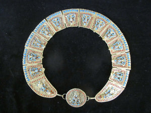Vintage TIBETAN Brass Sitting Buddha Ethnic COLLAR Necklace Intricate Detail