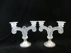 Vintage CAMBRIDGE MARTHA Sterling Silver & Frosted Glass Candlestick Set 465