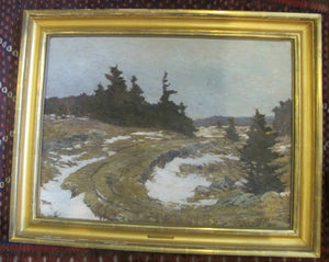 ALEXANDER BOWER Winter Road in Forest LANDSCAPE Signed Original Painting