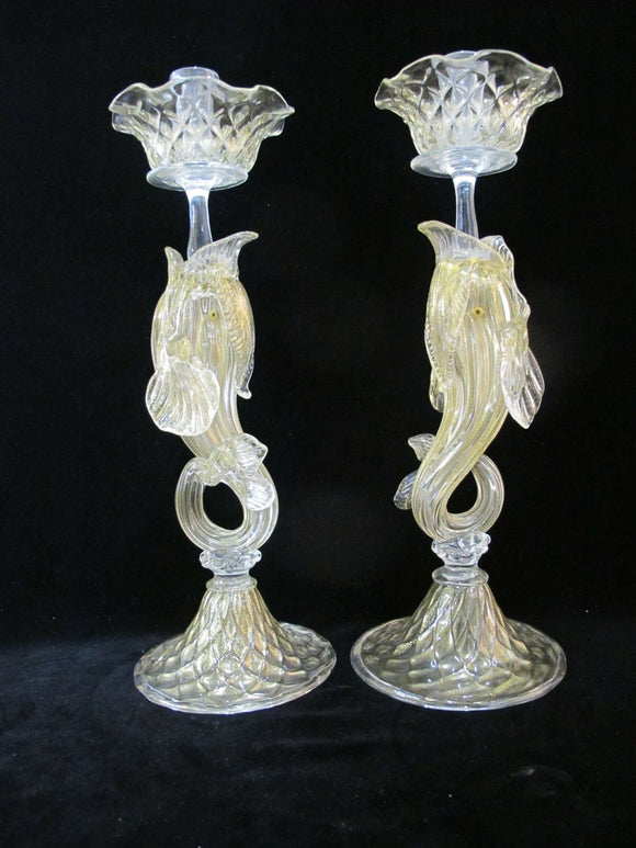 VENETIAN Glass GOLD Flecked Figural DOLPHIN Candle Sticks Holder Pair Salviati?
