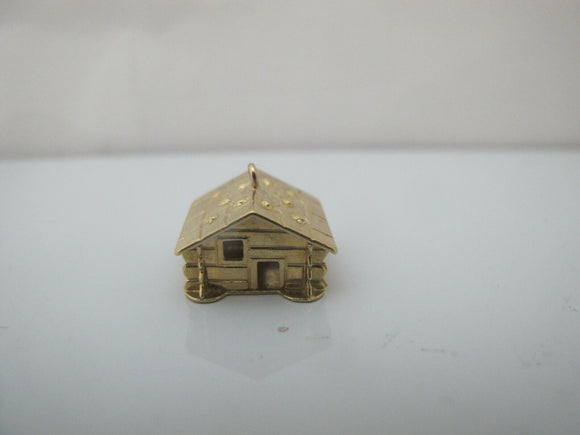 Vintage 18k Yellow Gold 3D LOG CABIN Rustic House Charm Pendant 4.3gr