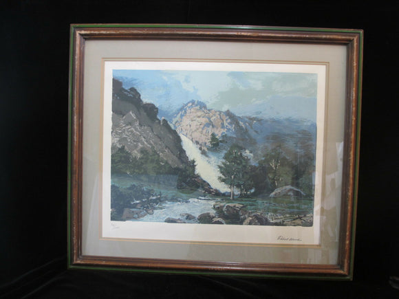 ROBERT WOOD Signed Limited Edition MOUNTAIN River Landscape Lithograph