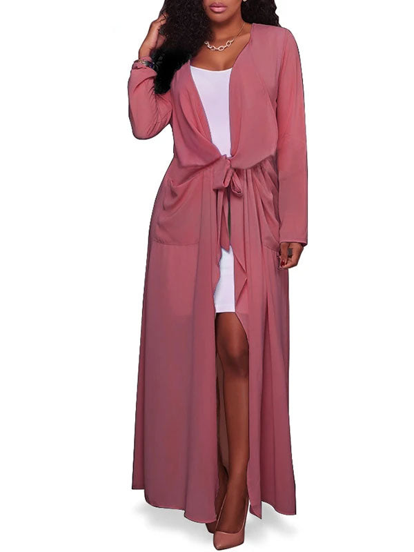 Rosyvivi Women's V Neck Long Sleeve Solid Color Casual Coat