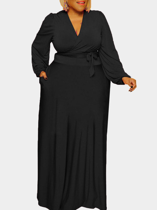 Rosyvivi Women Plus Size V Neck  Long Sleeve Dress Suit
