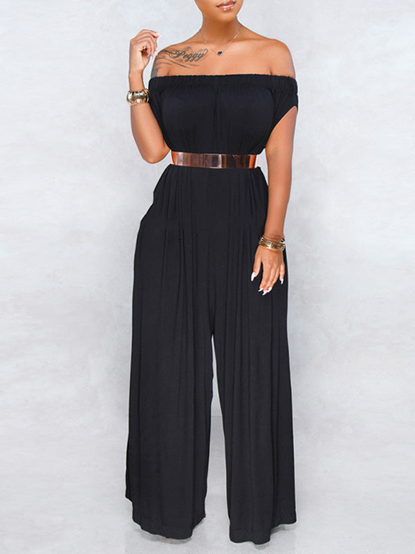 Rosyvivi Women's Off Shoulder Sleeveless Solid Color Daily Jumpsuit