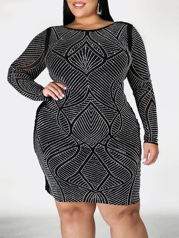Rosyvivi Women Plus Size Round Neck Long Sleeve Mini Dress