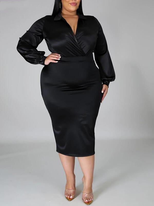 Rosyvivi Women Plus Size Long Sleeve Midi Dress