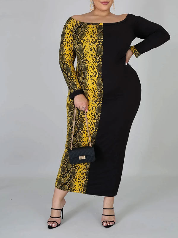Rosyvivi Women Plus Size Off Shoulder Long Sleeve Maxi Dress
