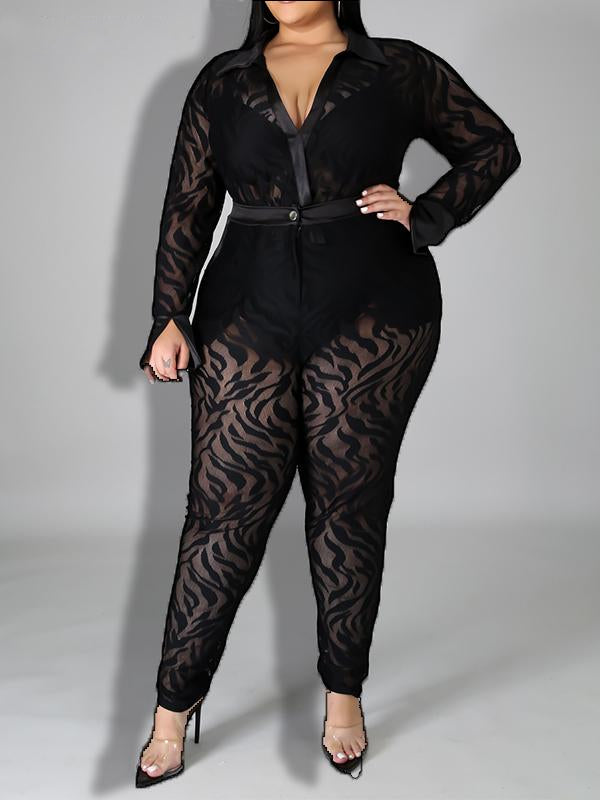 Rosyvivi Women's Plus Size V Neck Long Sleeve Jumpsuits