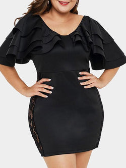 Rosyvivi Women Plus Size Round Neck Mini Dress