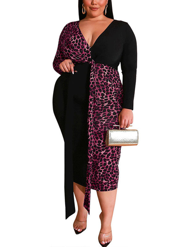 Rosyvivi Women Plus Size V Neck Leopard Print Long Sleeve Midi Dress