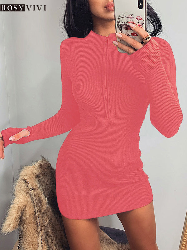 Rosyvivi Women V Neck Long Sleeve Mini Dresses