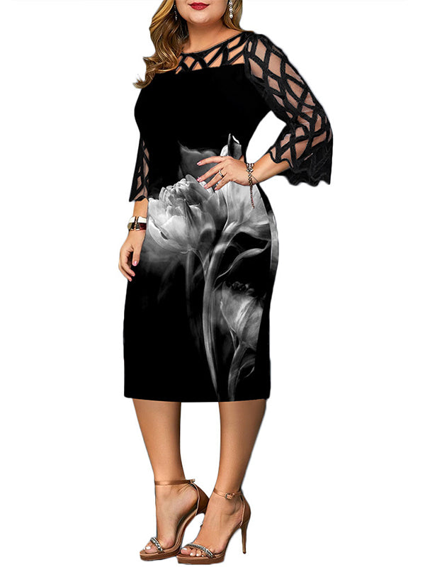 Rosyvivi Women Plus Size Round Neck Long Sleeve Midi Dress