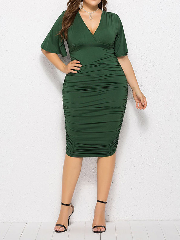 Rosyvivi Women Plus Size Short Sleeve V Neck Midi Dress