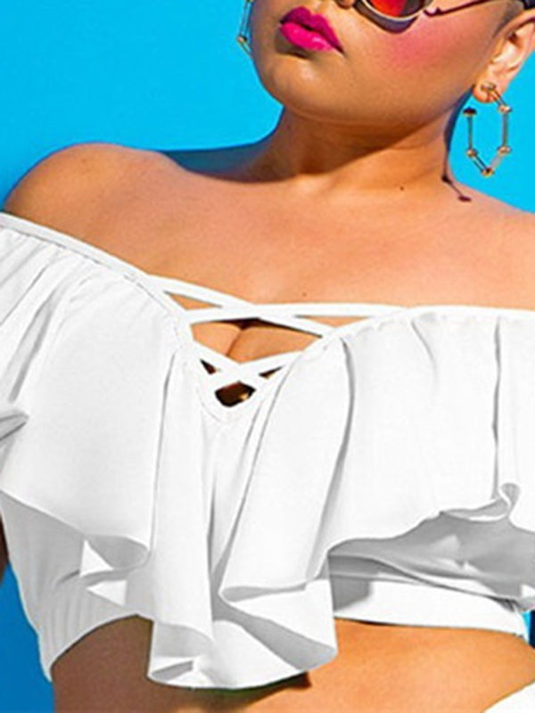 Rosyvivi Women Plus Size Off Shoulder Hollow Out Tankini