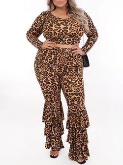 Rosyvivi Women's Plus Size V Neck Long Sleeve Leopard Daily Pant Suit