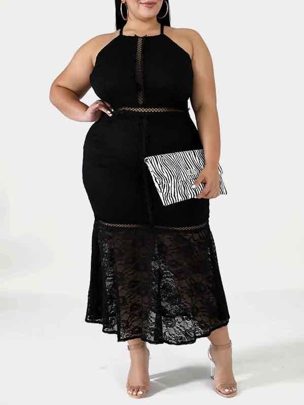 Rosyvivi Women Plus Size Sleeveless High Waist Maxi Dress