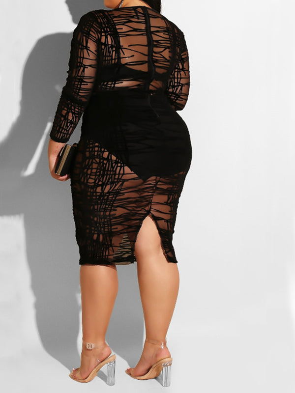 Rosyvivi Women Plus Size Long Sleeve V Neck Midi Dress