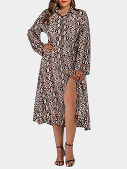 Rosyvivi Women Plus Size Lapel Long Sleeve Midi Dress