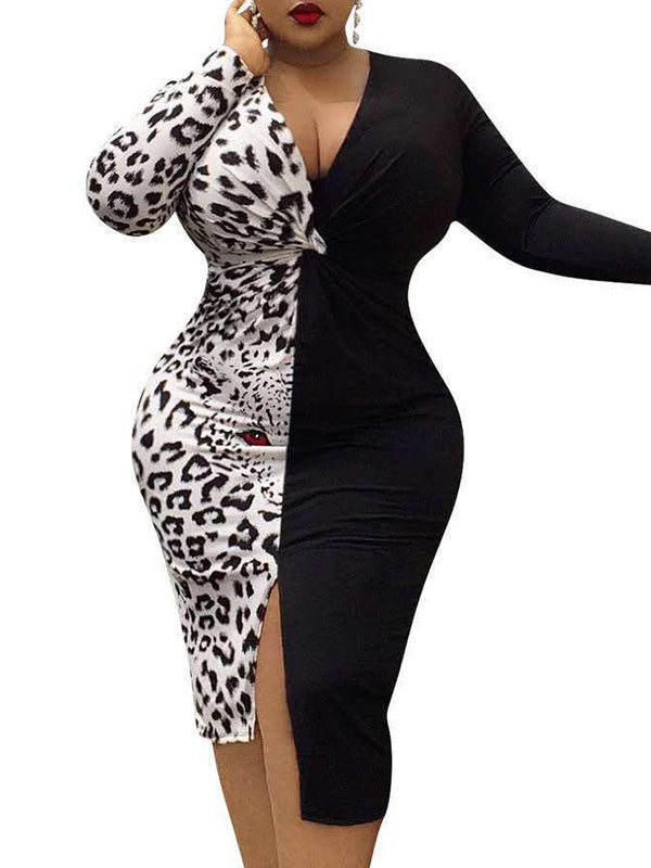 Rosyvivi Women Plus Size V Neck Long Sleeve Midi Dress