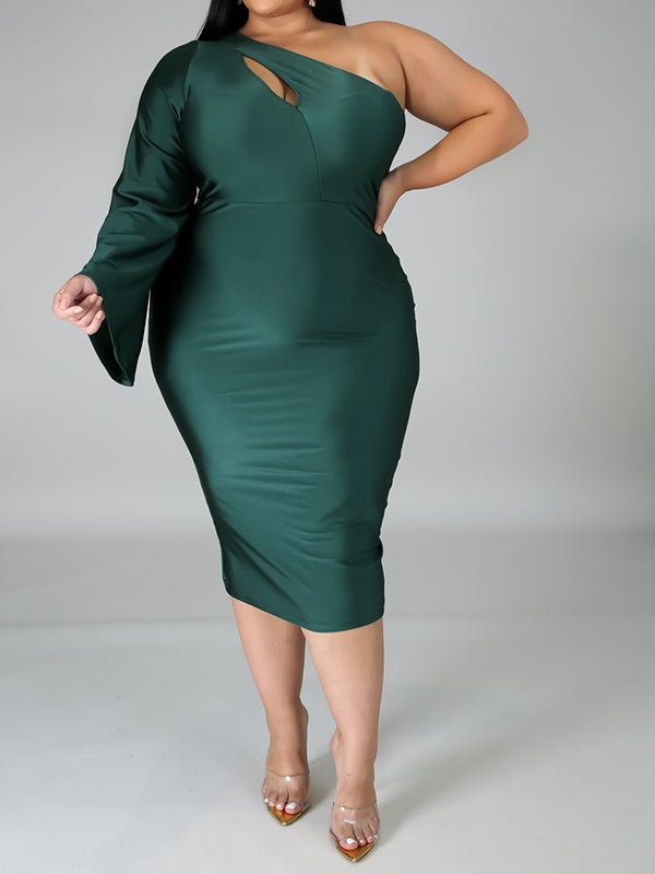 Rosyvivi Women Plus Size Cold Shoulder Midi Dress