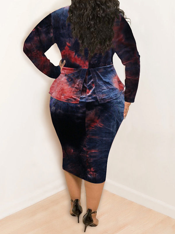 Rosyvivi Women Plus Size Long Sleeve Round Neck Tie Dye Midi Dress