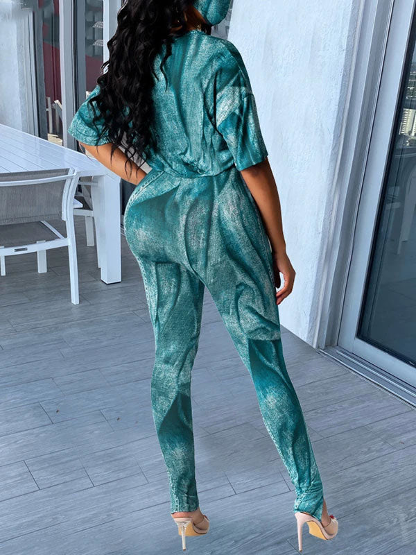 Rosyvivi Women's V Neck Long Sleeve Tie Dye Daily Pant Suit