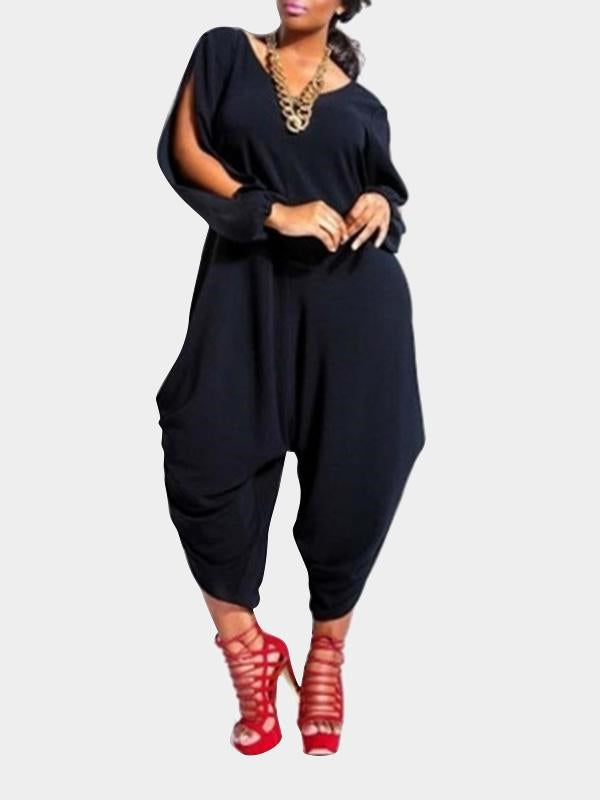 Rosyvivi Women's V Neck Long Sleeve Solid Color Daily Jumpsuit