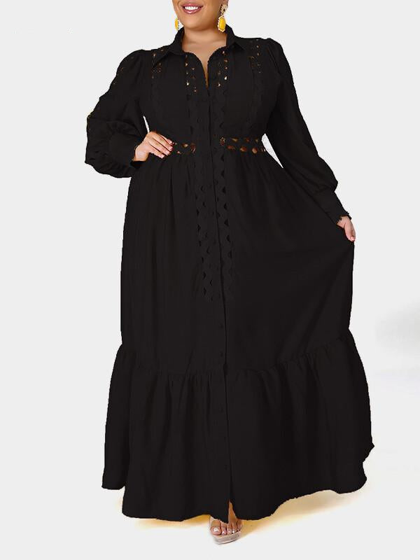 Rosyvivi Women Plus Size Long Sleeve Maxi Dress
