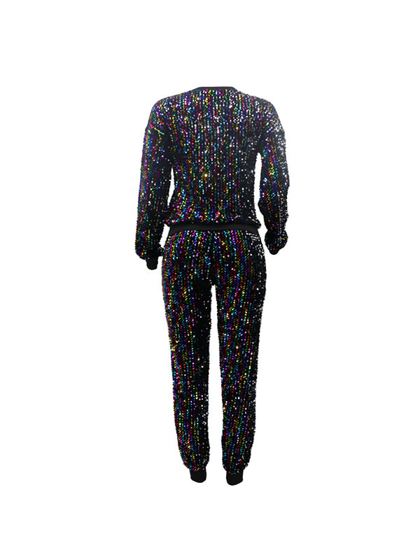 Rosyvivi Women's Plus Size Round Neck Long Sleeve Sequins Daily Date Pant Suit