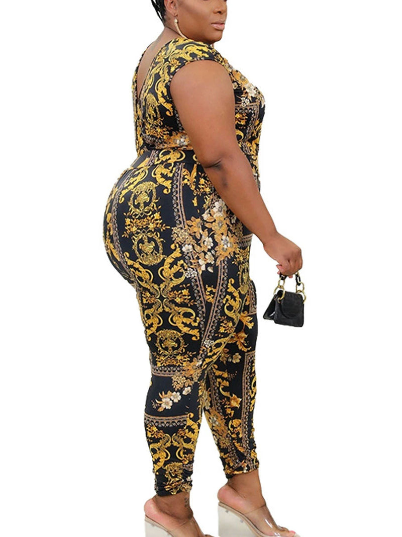 Rosyvivi Women's Plus Size V Neck Sleeveless Print Daily Jumpsuit