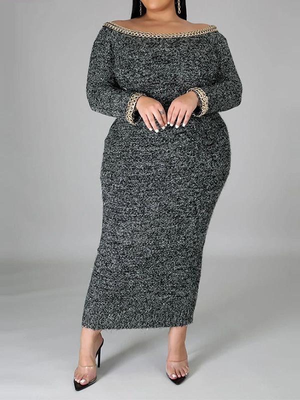 Rosyvivi Women Plus Size Long Sleeve Off Shoulder Maxi Dress