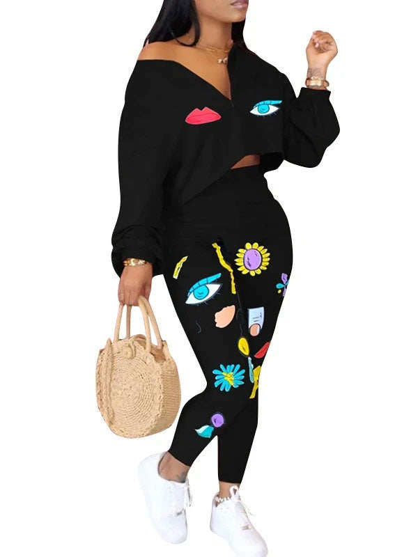 Rosyvivi Women's V Neck Long Sleeve Print Casual Pant Suit