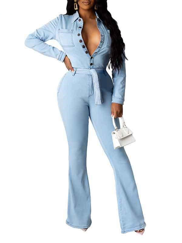 Rosyvivi Women's Lapel Long Sleeve Solid Color Daily Jumpsuit