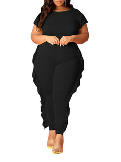 Rosyvivi Women's Plus Size Round Neck Short Sleeve Solid Color Fungus Daily Pant Suit