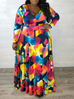 Rosyvivi Women Plus Size V Neck Long Sleeve Maxi Dress