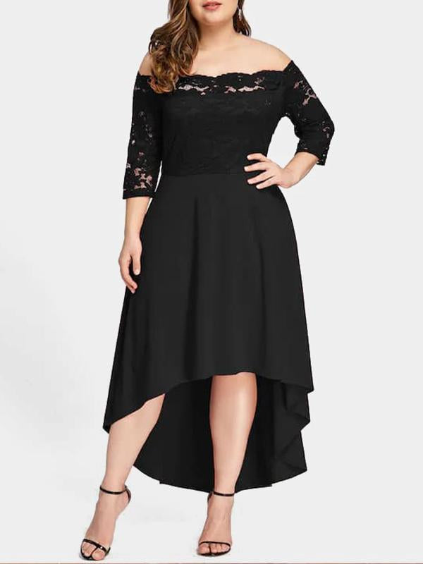 Rosyvivi Women Plus Size Off Shoulder Long Sleeve Midi Dress